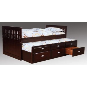 Espresso Captains Bed with Trundle and Storage