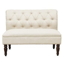 Tufted Roll Back Settee - Beige
