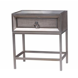 Mancini Mirrored End Table 1 Drawer, Cream/Silver