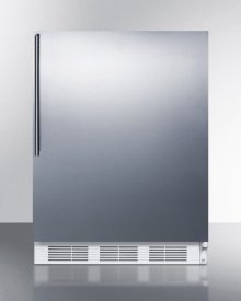 ADA Compliant Commercial All-refrigerator for Freestanding General Purpose Use, Auto Defrost With Stainless Steel Door, Thin Handle, and White Cabinet