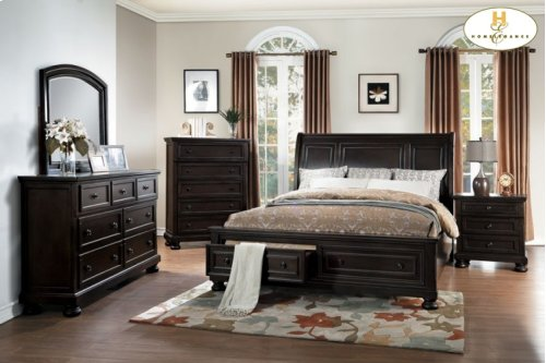 Eastern King Platform Bed with Footboard Storage