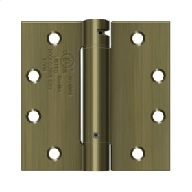 """4 1/2""""x 4 1/2"""" Spring Hinge, UL Listed - Antique Brass"""