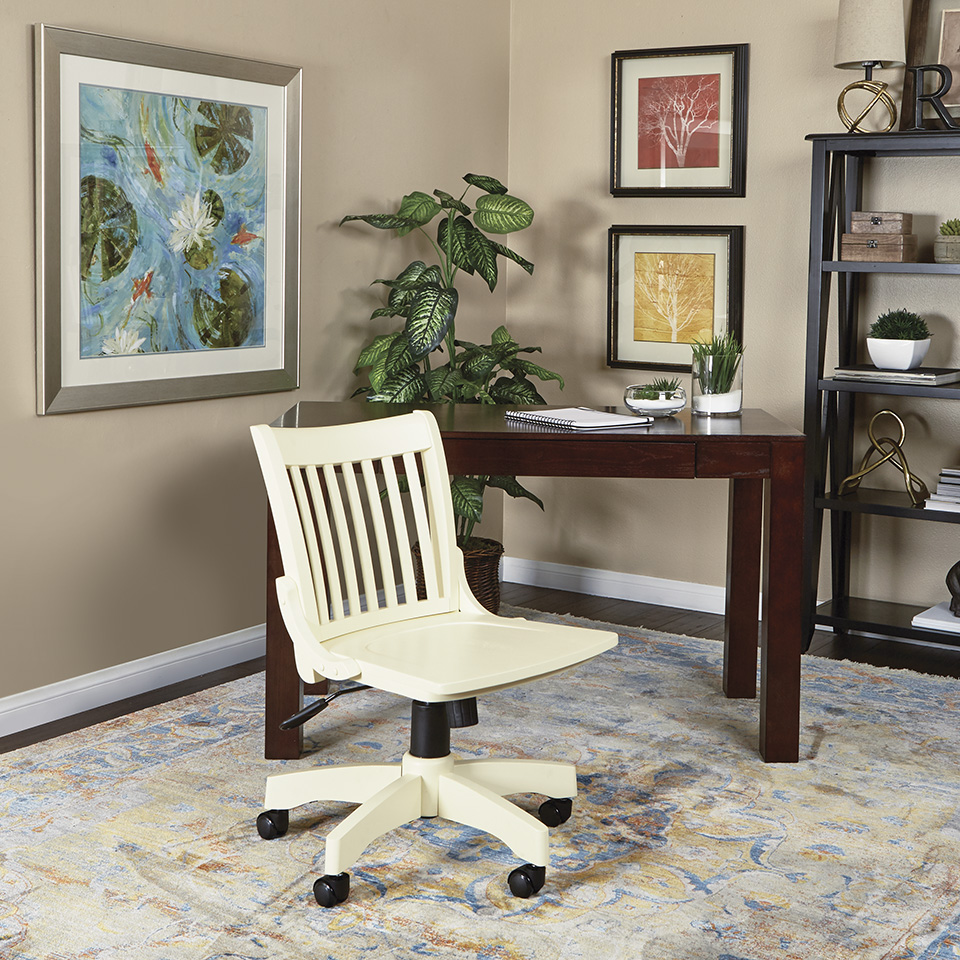 Bon Deluxe Armless Wood Bankers Chair With Wood Seat (antique White Finish)