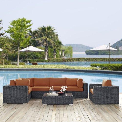 Summon 7 Piece Outdoor Patio Sunbrella® Sectional Set in Canvas Tuscan