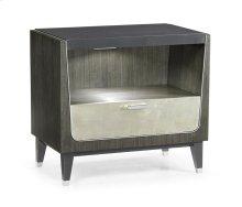 Contemporary Art Deco Dark Grey Walnut & Champagne Silver-Leaf Bedside Cabinet