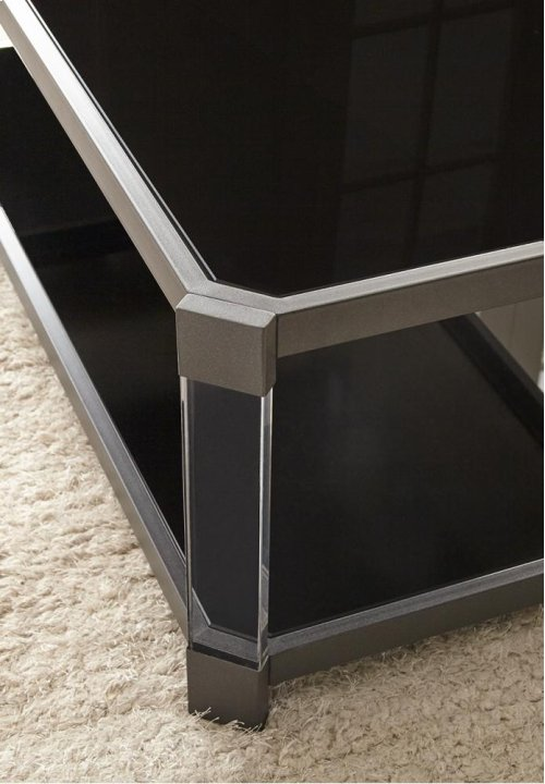 "Newton End Table 24""X 24""X 24"" 8MM BLACK TEMPERED GLASS"