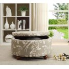 Grey Round Storage Ottoman Product Image
