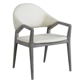 Dining Arm Chair-slate Finish-w/upholstered Back & Seat-white Pu#r441-set Up