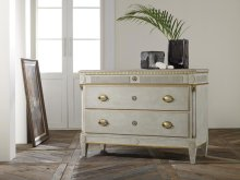 Danish Three Drawer Commode-antique Grey, Painted Antique Grey. Gold Leaf Details. Antique Brass Hardware.
