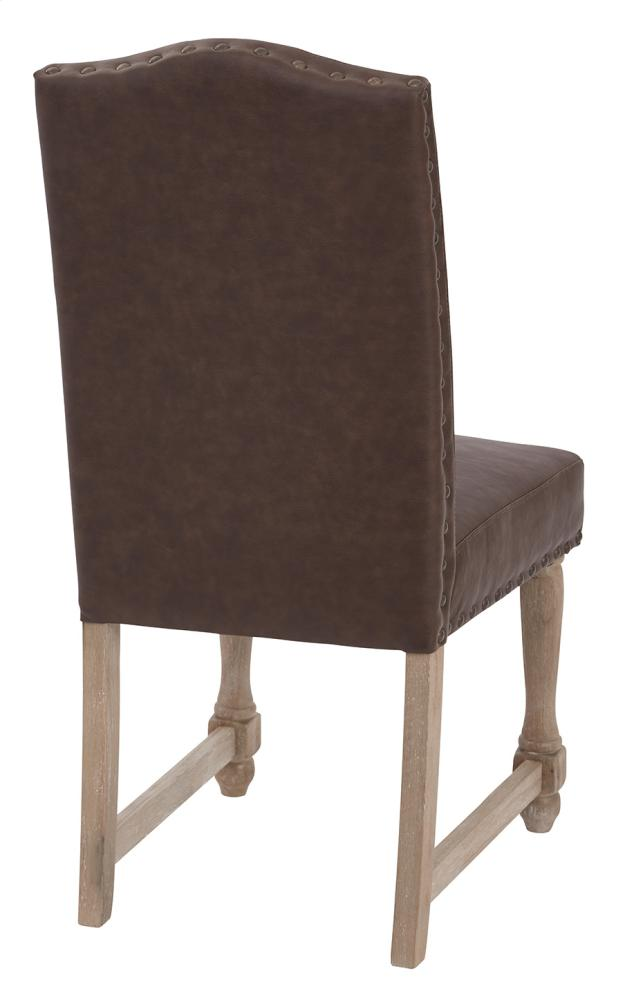 Hidden · Additional Kingman Dining Chair With Antique Bronze Nailheads And  Brushed Legs In Espresso Bonded Leather