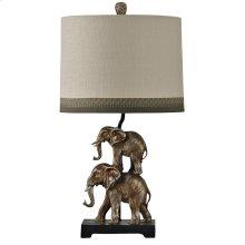 Antique Silver Finish Stacking Elephant Novelty Lamp Designer Shade with Trim