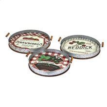 TY Berry Patch Decorative Galvanized Trays - Set of 3