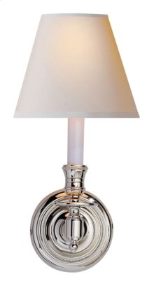 Visual Comfort S2110PN-NP Studio French Library 1 Light 6 inch Polished Nickel Decorative Wall Light in Natural Paper