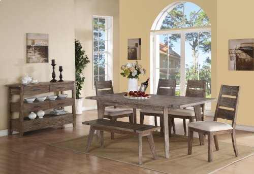 "Emerald Home Viewpoint Dining Table W/18"" Butterfly Leaf Driftwood D977-10"