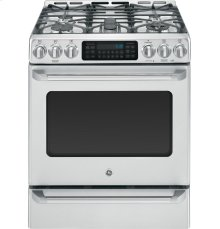 """GE Café Series 30"""" Slide-In Front Control Range with Baking Drawer"""