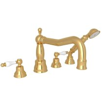 Italian Brass Arcana Column Spout 4-Hole Deck Mount Tub Filler With Handshower with Arcana Series Only Ornate White Porcelain Lever