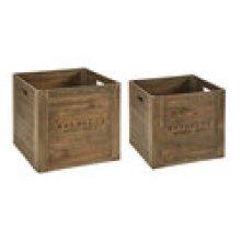 Wood Square Crates with Magnolia Logo - Set of 2 Sizes