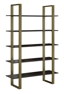 Broadway Antique Brass and Ebony Wood Tiered Etagere