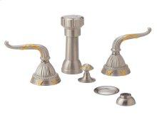 Four Hole Bidet Set Lever Handles - Polished Brass
