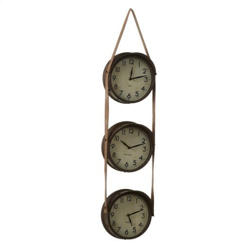 Rusted Time Zone Wall Clock Hanging on Faux Leather Strap