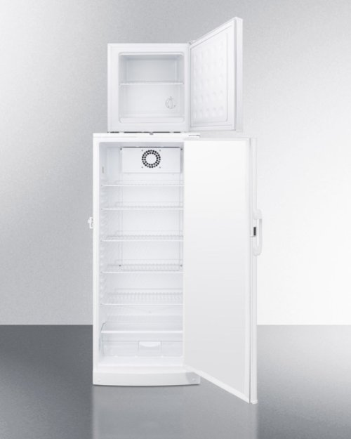 """Compact Fs24lmed All-freezer Stacked On Full-size Auto Defrost Ffar10med All-refrigerator, 24"""" Footprint With Temperature Alarms"""