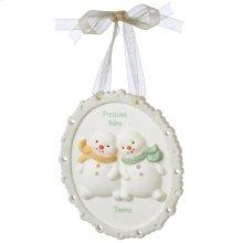 """""""Precious Baby Twins"""" Plaque Ornament."""