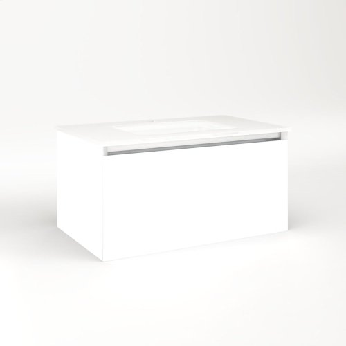 """Cartesian 30-1/8"""" X 15"""" X 18-3/4"""" Single Drawer Vanity In White With Slow-close Full Drawer and Night Light In 5000k Temperature (cool Light)"""