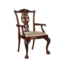 CARVED MAHOGANY FINISH ARMCHAIR