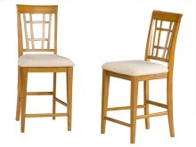 Montego Bay Pub Chairs Set of 2 with Oatmeal Cushion in Caramel Latte