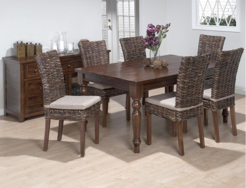 Urban Lodge Rectangle Dining Table With Six Rattan Chairs And Cushions Hidden