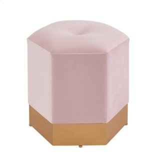 Bella Velvet Fabric Hexagon Ottoman, Serene Blush Pink/Gold