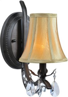 Wall Lamp - Dark Bronze/fabric Shade, E12 Type B 60w