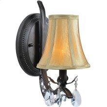 Wall Lamp - Dark Bronze/fabric Shade, E12 Type B 60w