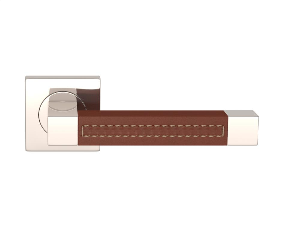 Square Stitch Out Recess Leather In Chestnut And Polished Nickel