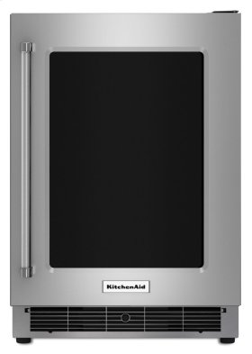 """24"""" Stainless Steel Undercounter Refrigerator with Metal-Front Glass Shelves"""