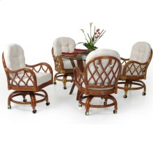 6800 Series 5 Piece Rattan Swivel Tilt Caster Dining Set