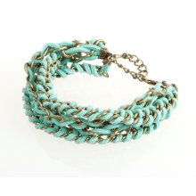 BTQ Teal and Gold Woven Bracelet
