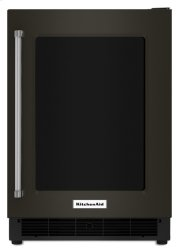"""24"""" Undercounter Refrigerator with Glass Door and Metal Trim Shelves - Black Stainless Product Image"""