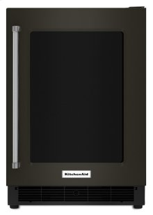 """24"""" Undercounter Refrigerator with Glass Door and Metal Trim Shelves - Black Stainless"""