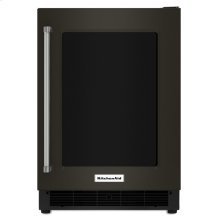 """24"""" Undercounter Refrigerator with Glass Door and Metal Trim Shelves - Black Stainless Steel with PrintShield™ Finish"""