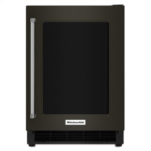 "Kitchenaid Black24"" Undercounter Refrigerator With Glass Door And Metal Trim Shelves - Black Stainless Steel With Printshield™ Finish"