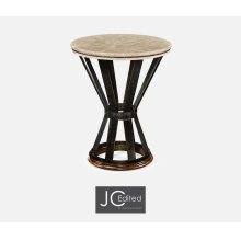 Wrought Iron Round Table with Dark Marble Top