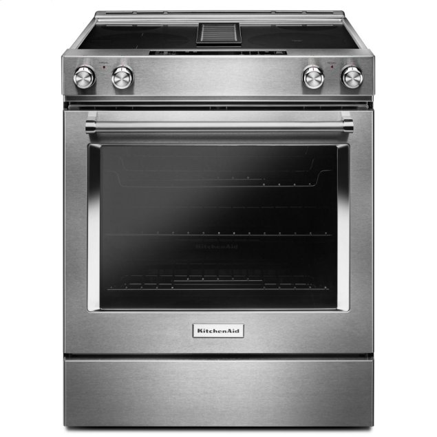 KitchenAid 30-Inch 4-Element Electric Downdraft Slide-In Range - Stainless Steel
