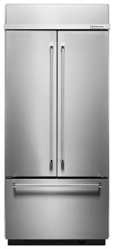 """20.8 Cu. Ft. 36"""" Width Built In Stainless Steel French Door Refrigerator with Platinum Interior Design Product Image"""