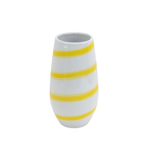 """Ceramic Striped Vase 12"""", White/yellow"""