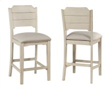 Clarion Non-swivel Open Back Counter Height Stool - Set of 2 - Sea White