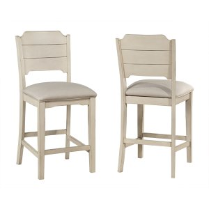 Hillsdale FurnitureClarion Non-swivel Open Back Counter Height Stool - Set of 2 - Sea White