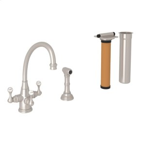 Satin Nickel Perrin & Rowe Georgian Era 3-Lever Kitchen Faucet With Sidespray with Etruscan Metal Lever