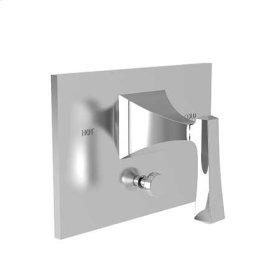 Matte White Balanced Pressure Tub & Shower Diverter Plate with Handle. Less Showerhead, arm and flange.