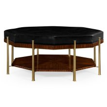 Octagonal Calista Cocktail Ottoman, Upholstered in Black Leather